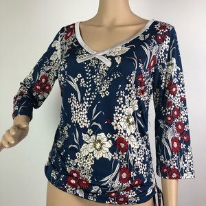 Vol. 1 Top Blouse Red White Blue Floral Tie VOL I